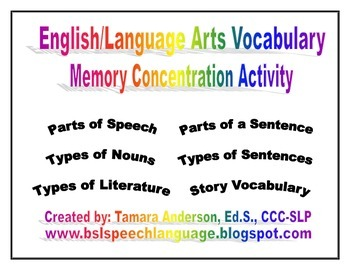 English/Language Arts Vocabulary Memory Concentration Activity