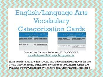 English/Language Arts Vocabulary Categorization Cards