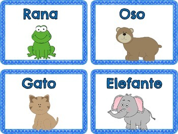 English/Spanish Animal Flashcards