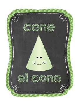 English/Spanish Chevron Chalkboard 2D and 3D Shape Poster Printables
