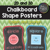 English/Spanish Chevron Chalkboard 2D and 3D Shape Poster