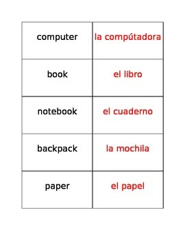 English/Spanish Classroom Labels