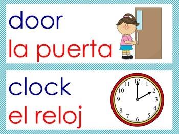 English/Spanish Classroom Labels Starter Kit