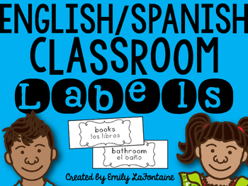 English and Spanish Classroom Labels for English Language Learners (B&W)