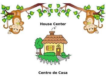 English/Spanish Monkey Themed Center Signs