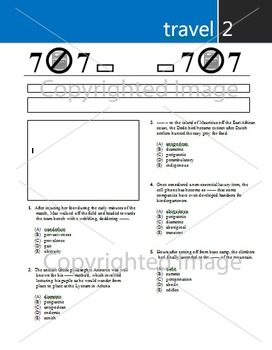 SAT Critical Reading: 2. TRAVEL Vocabulary/Word Group Worksheet