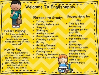 Englishopoly ELL Newcomer Game to Practice Routine Phrases