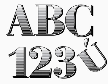 """Engraved Currency Styled Alphabet  /  97 pcs - 3.5"""" High, Vector PDF and PNGs"""