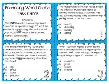 Enhancing Word Choice Task Cards