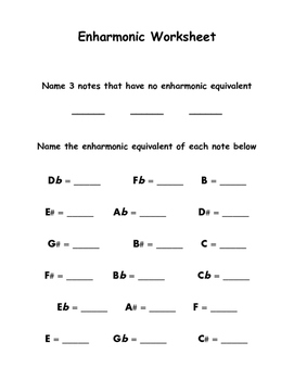 Enharmonic Equivalent Worksheet