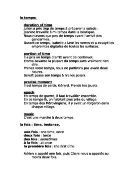 Énigmes françaises: fois temps heure FRENCH