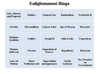Enlightenment Bingo