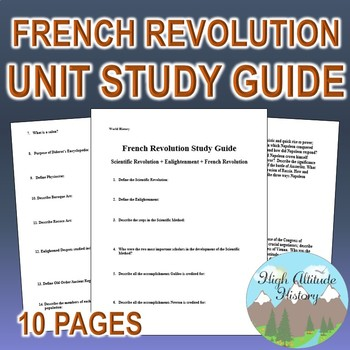 Enlightenment & French Revolution Unit Study Guide (World History)