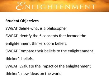 Enlightenment Group Activity Lesson: The impact of ideas o