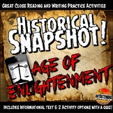Enlightenment Historical Snapshot Close Reading Investigation