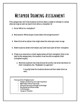 Cross Curricular Lesson: History--Metaphor Drawing Assignment
