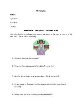 Enlightenment Montesquieu Division of Power Worksheet