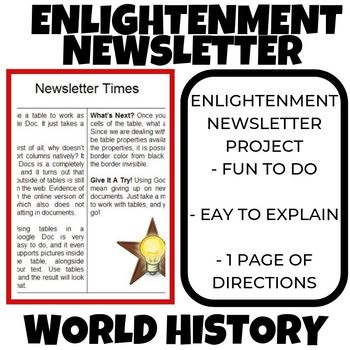 Enlightenment Newsletter Project World History