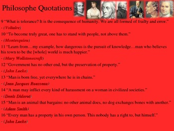 Enlightenment Philosopher Flipbook and Quotations Activity