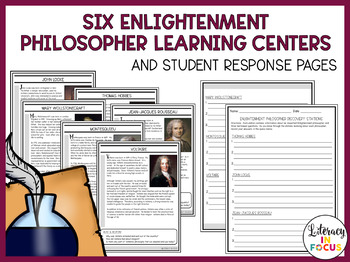 Enlightenment Philosopher Discovery Stations, Task Cards, & Writing Assessment