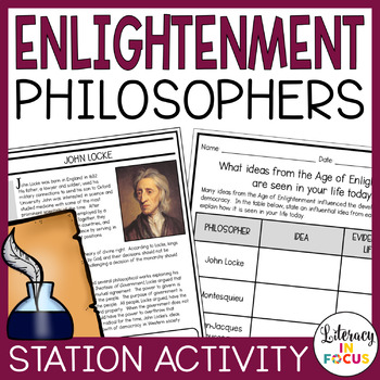 Enlightenment Philosopher Discovery Stations, Task Cards,