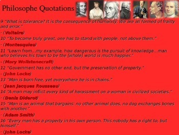 Enlightenment Philosopher Quotations, flip book activity with PPT