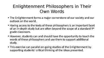 Enlightenment Philosophers in Their Own Words