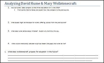 Enlightenment Philosophes Intro-  Analyzing David Hume & Mary Wollstonecraft
