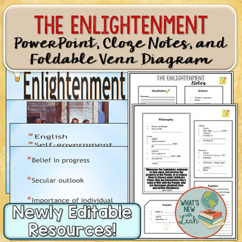 Enlightenment PowerPoint, Cloze Notes, and Foldable Venn Diagram