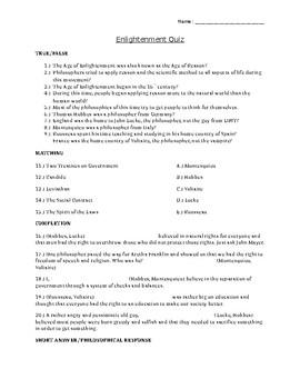 Enlightenment Quiz  Age of Reason Quiz