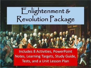 Enlightenment & Revolution Unit Notes, Activities, & Test Bundle