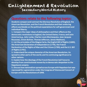 Enlightenment & Revolution Test & Review Game- Editable (World History)