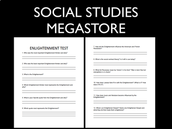 Enlightenment Test written and group World History