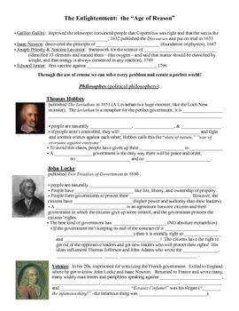 Enlightenment Thinkers (Age of Reason, Locke, Montesquieu, Rousseau)