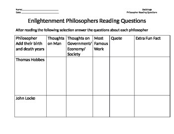 Enlightenment Thinkers Chart