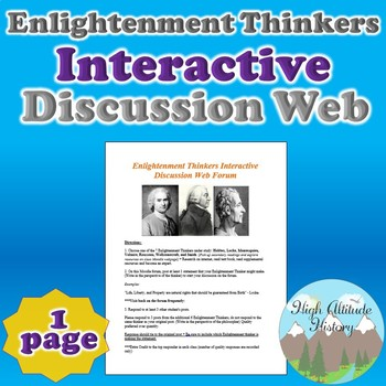 Enlightenment Thinkers Interactive Discussion Web Forum (T