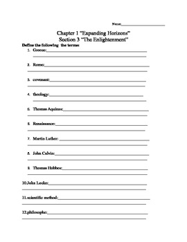 Enlightenment Worksheet