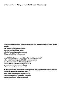 Global 2: Enlightenment Worksheet