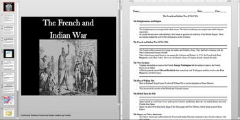 Enlightenment and French Indian War Powerpoint AND Notes Worksheet