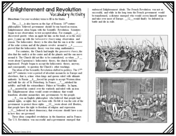 Enlightenment and Revolution Vocabulary Unit