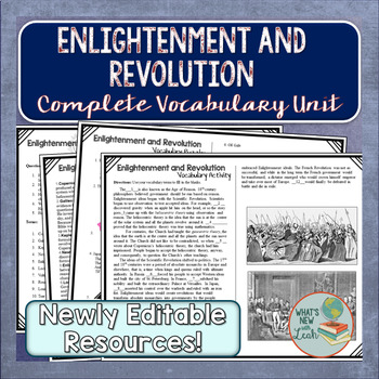 Enlightenment and Revolution Vocabulary Unit