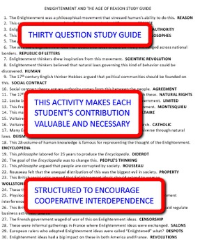 Enlightenment and the Age of Reason: Interdependent Answer Sheets Activity
