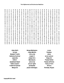 Enlightenment and the American Revolution Word Search for World History