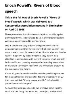 Enoch Powell's 'Rivers of Blood' speech Handout