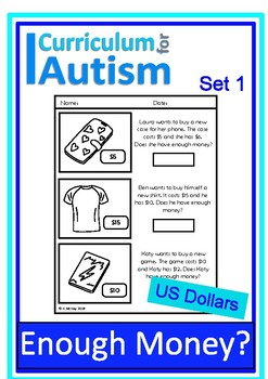 Enough Money Budgeting DOLLARS Autism Life Skills