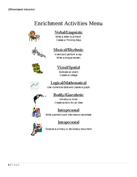 Enrichment Activities Menu