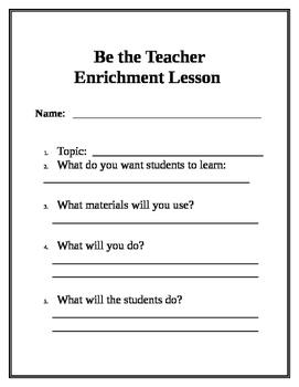 Enrichment Activity - Be the Teacher