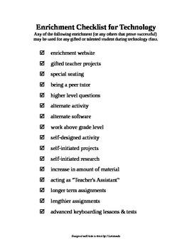 Enrichment Checklist for Technology