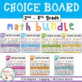 Math Project Choice Board Bundle for Distance Learning