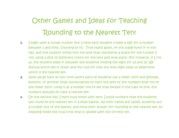 Enrichment Packet for Rounding to the NearestTen